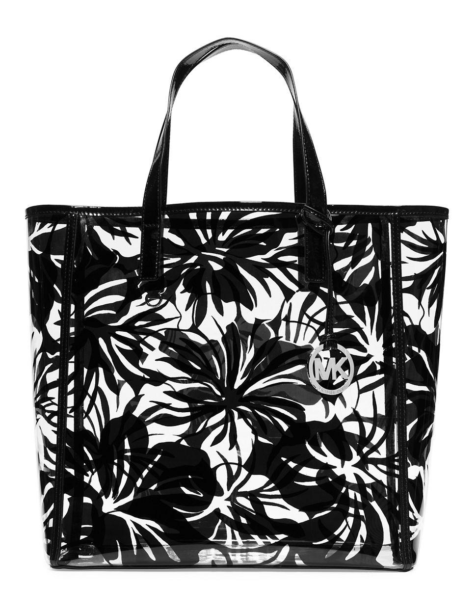 076b8cf2c915 ... striped plastic tote bag in black 565ef 7cbad  denmark michael michael  kors tote eliza tropical print large in black lyst b7aa9 4d2d2