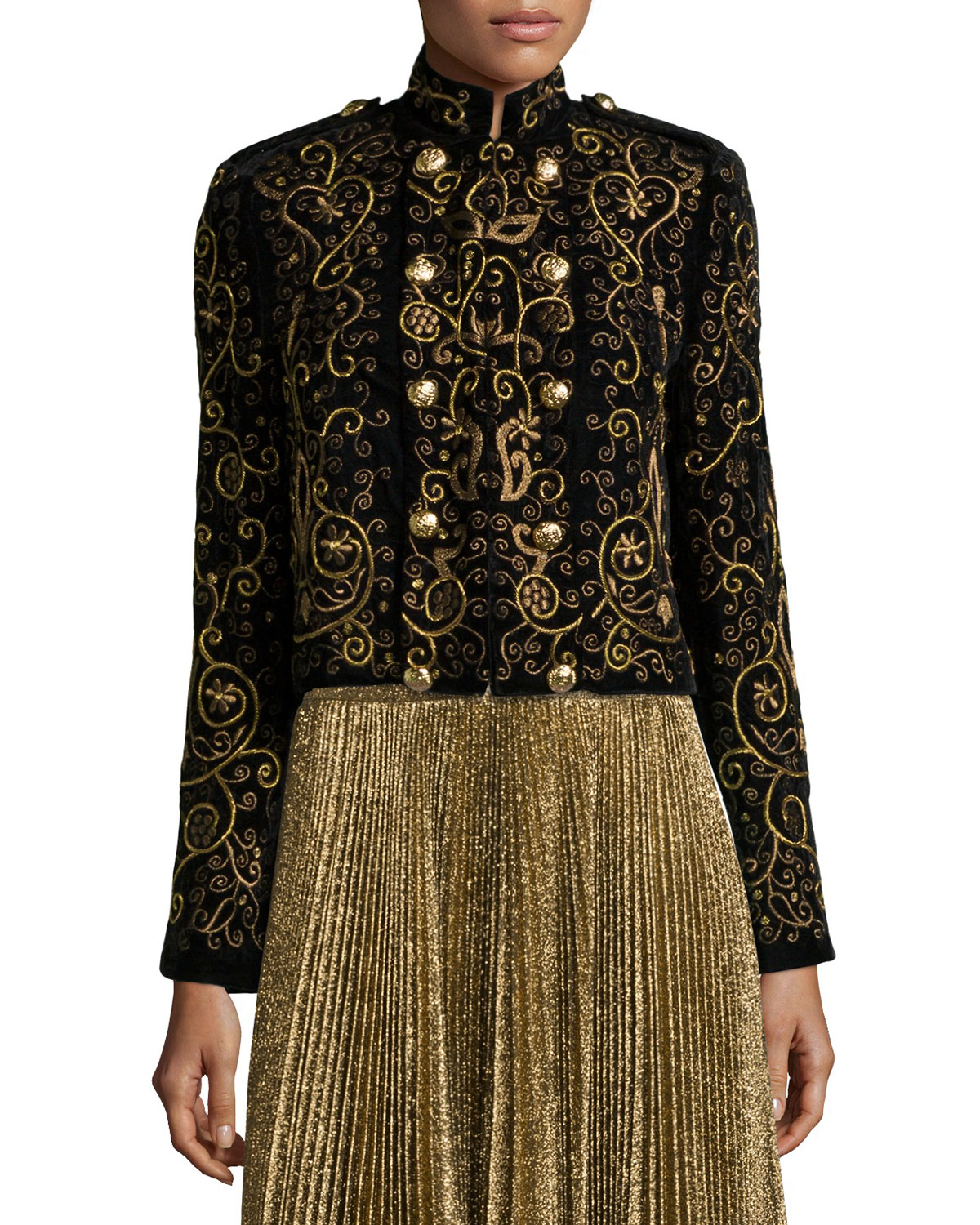 Alice olivia phoenix embroidered knit jacket in brown