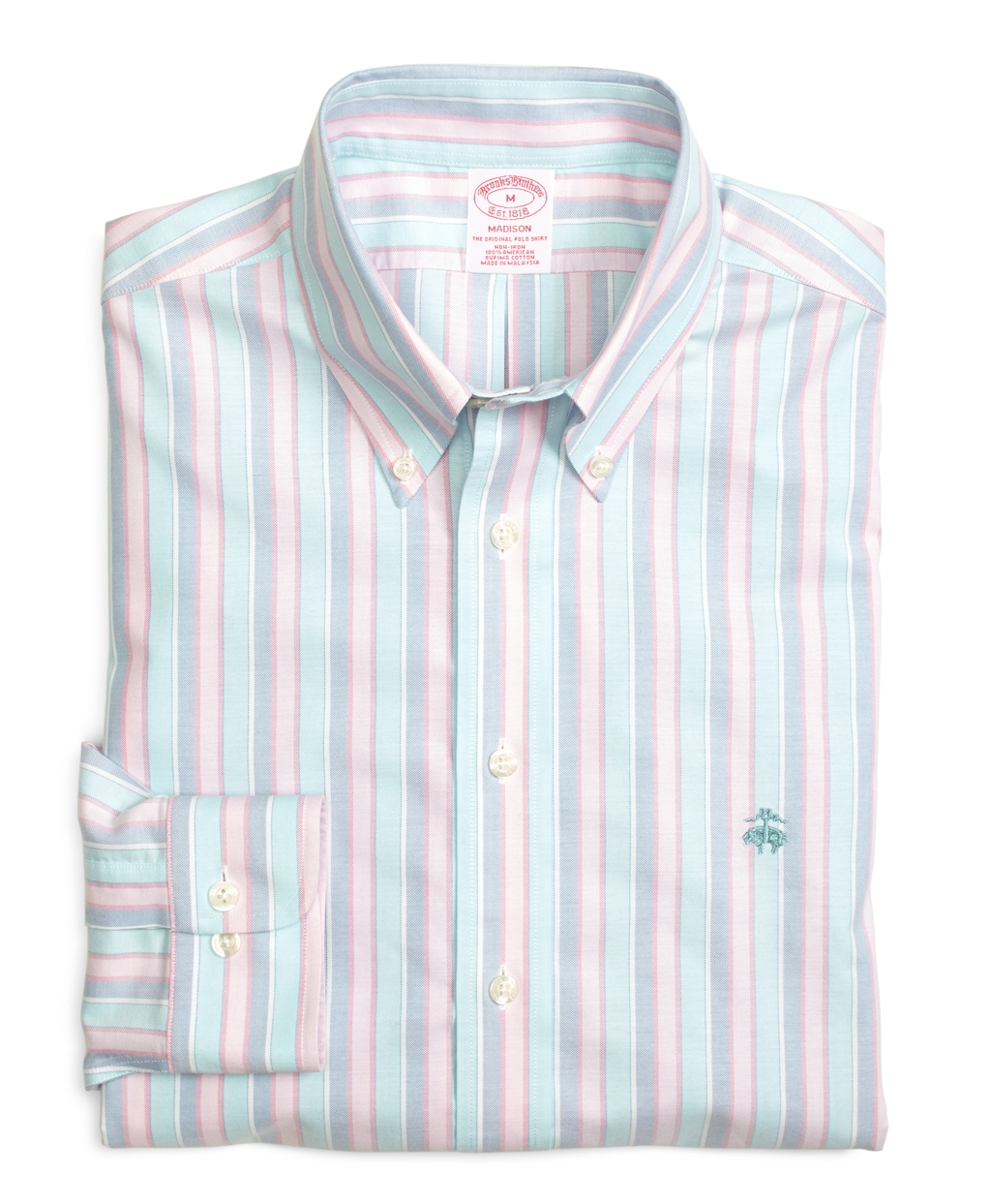 Brooks Brothers Madison Fit Oxford Stripe Sport Shirt In