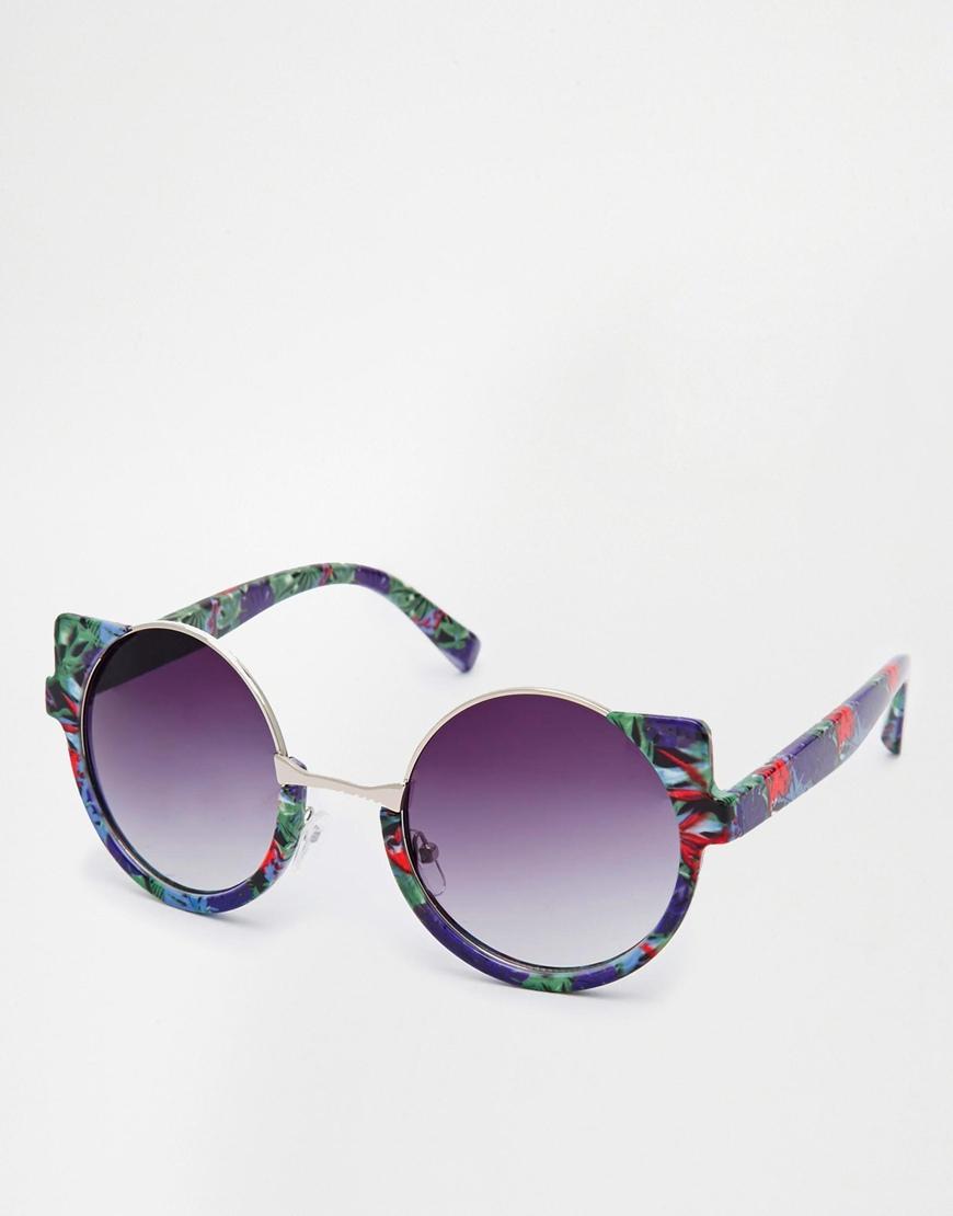 Half Frame Round Eyeglasses : Asos Tropical Print Half Frame Round Sunglasses in ...