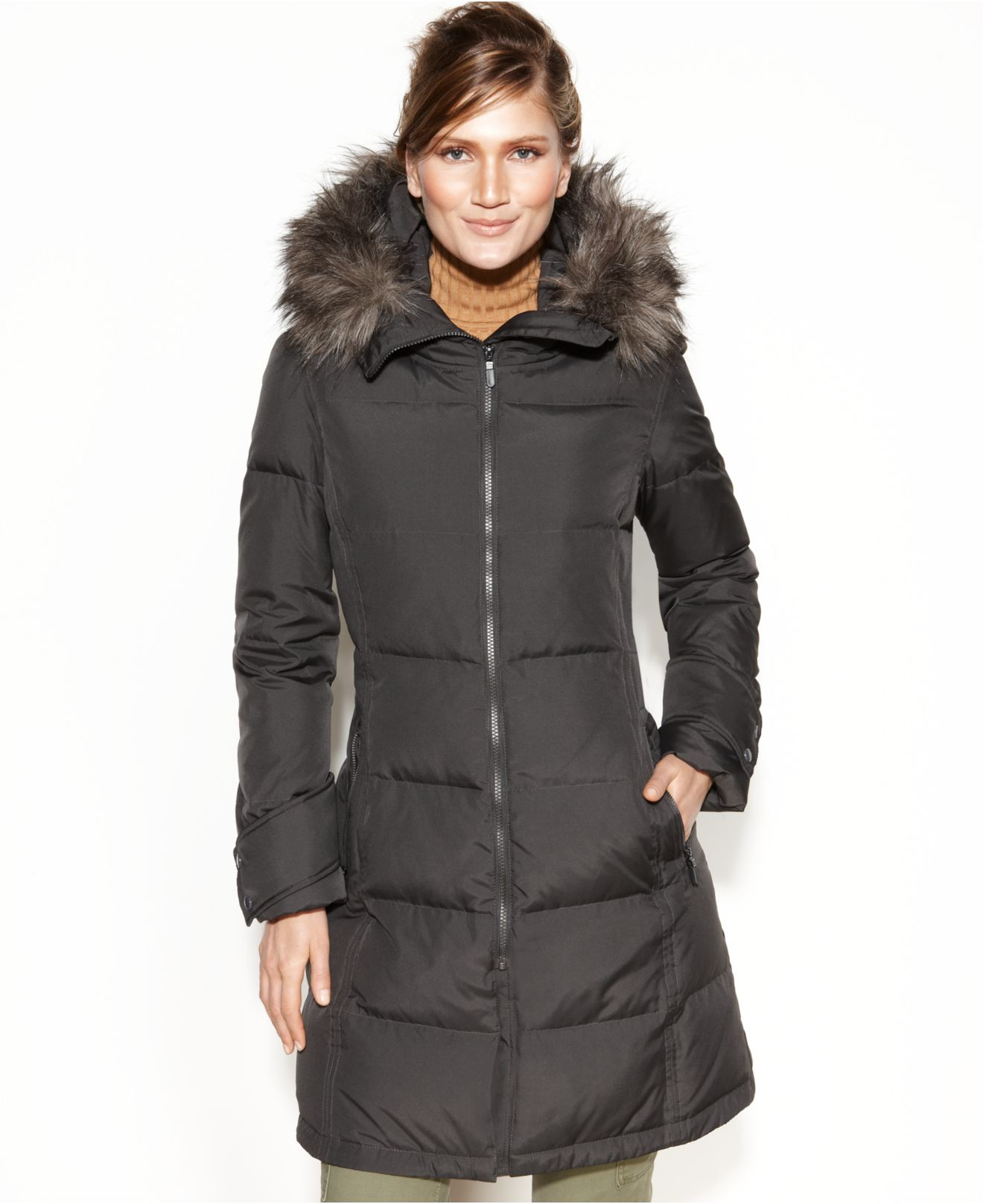 Calvin Klein Hooded Faux Fur Trim Quilted Down Puffer Coat