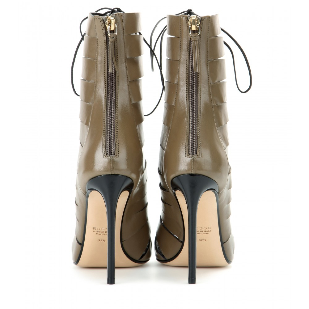 Francesco Russo Cut-out Leather Ankle Boots in Brown