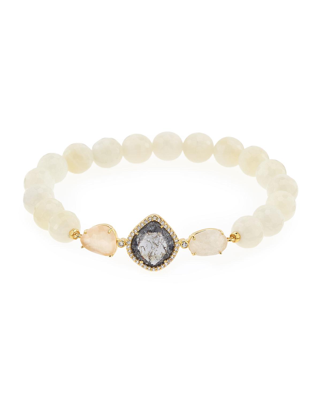 faceted moonstone bead bracelet in white lyst