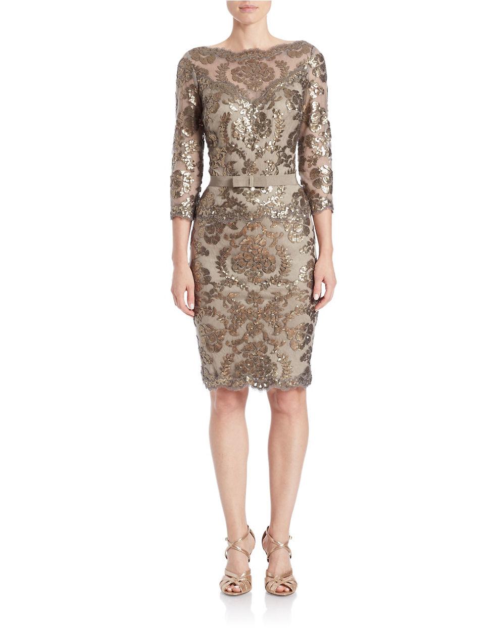 Tadashi Shoji Sequin Sheath Dress In Gray Lyst