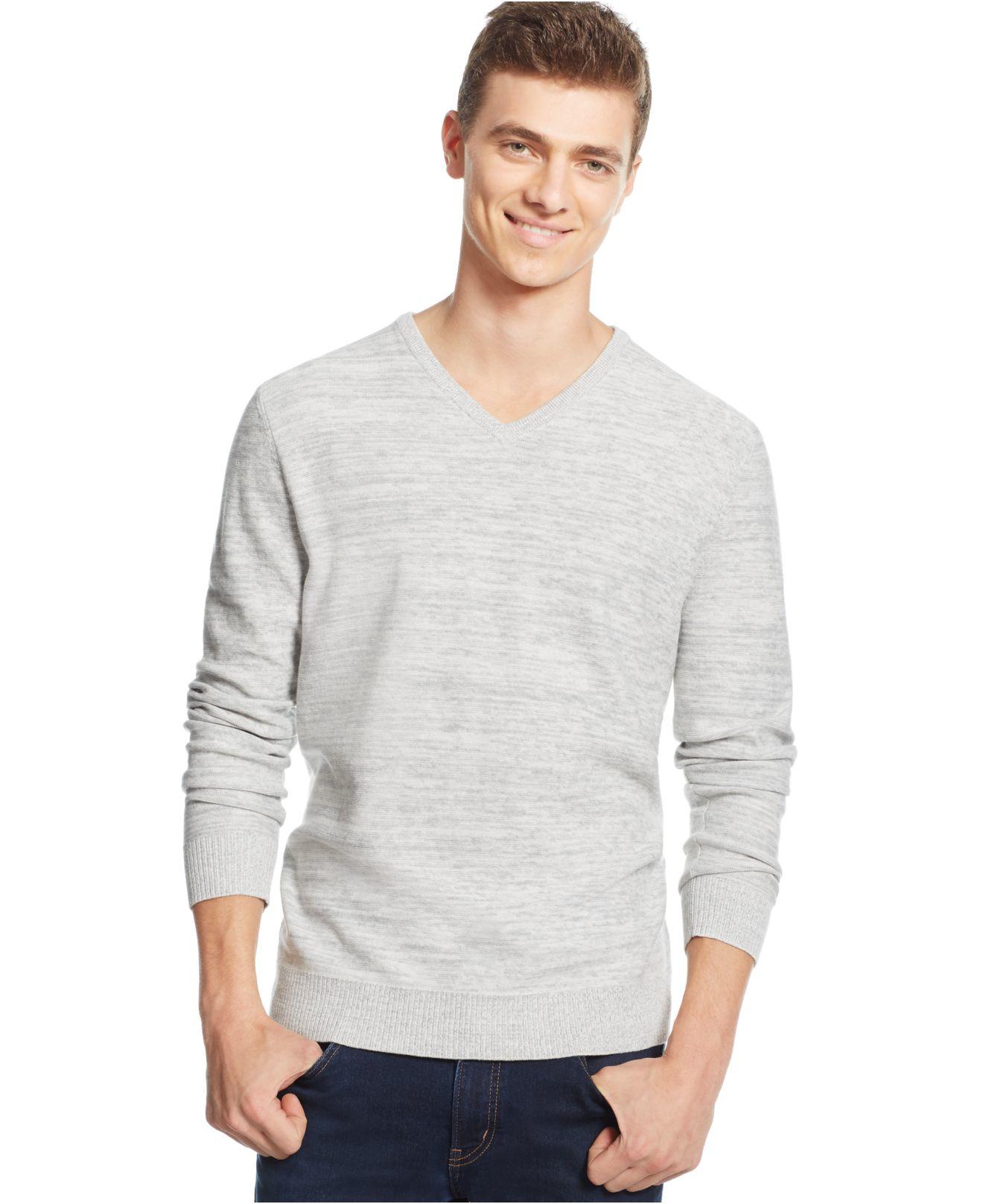 alfani s v neck sweater in gray for lyst