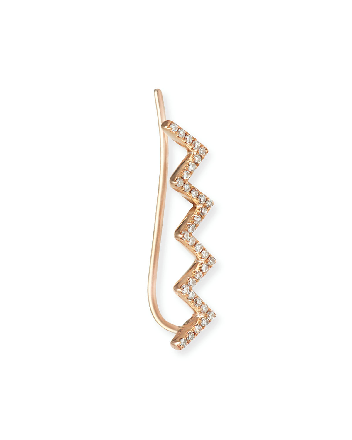EF Collection Zigzag Diamond Floating Ear Cuff