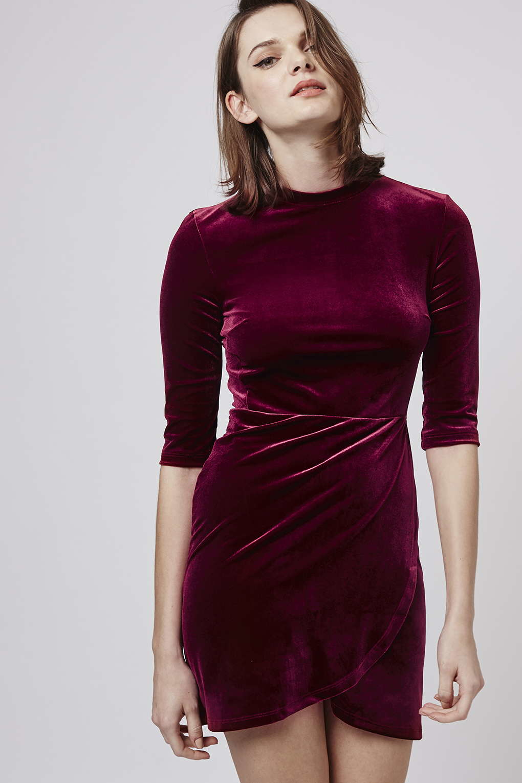 Topshop Velvet Wrap-over Bodycon Dress in Purple | Lyst