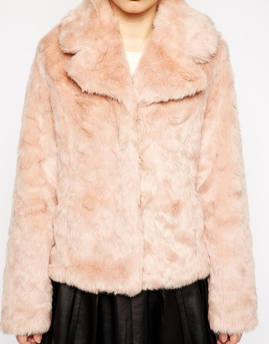 9dc7a718c367 Oasis Faux Fur Coat in Pink - Lyst