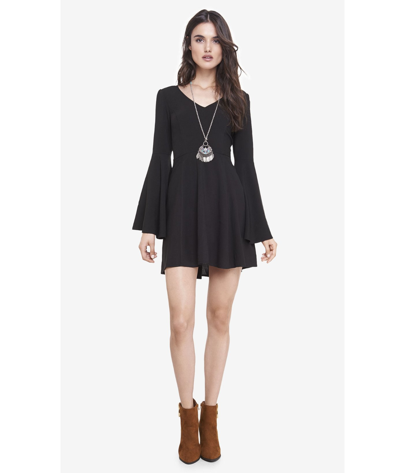 Express Lace Black Bell Sleeve Fit And Flare Dress Lyst