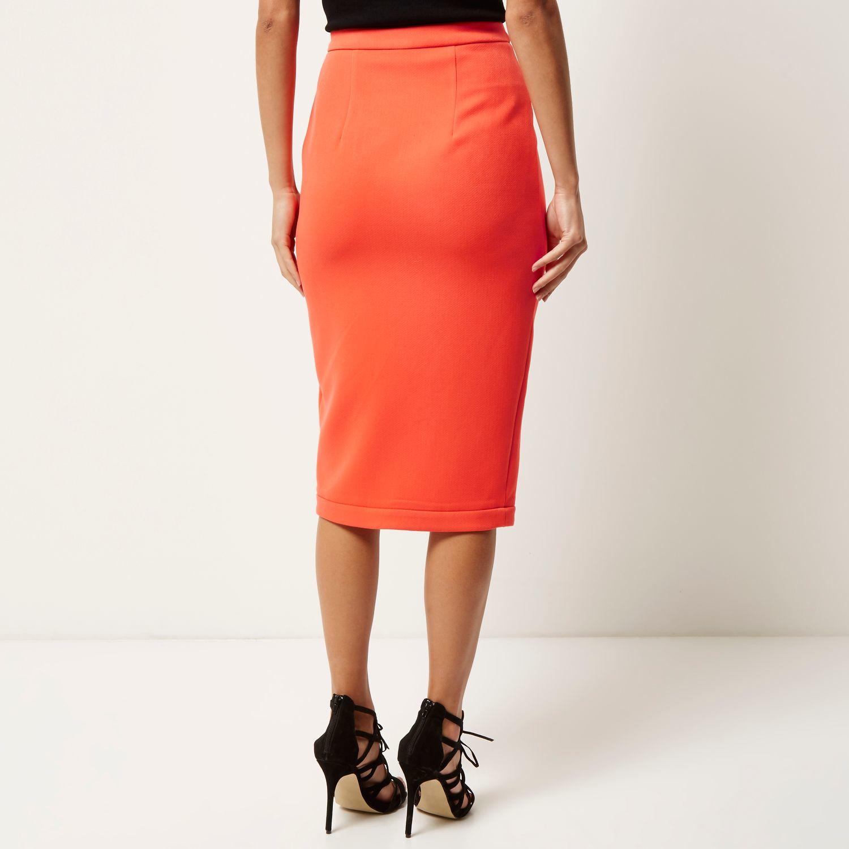 ae2b285e2e River Island Coral Orange Zip Front Pencil Skirt in Orange - Lyst