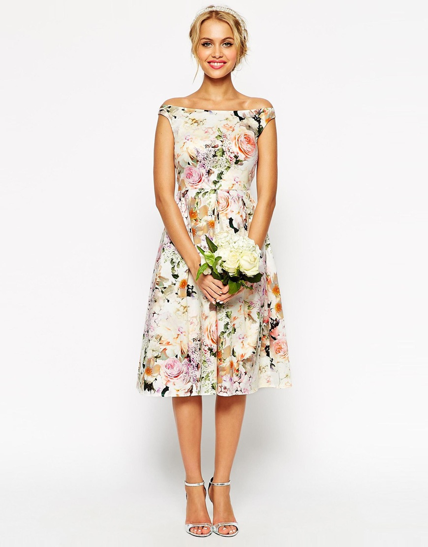 Lyst asos wedding midi floral prom dress for Cocktail dress wedding attire