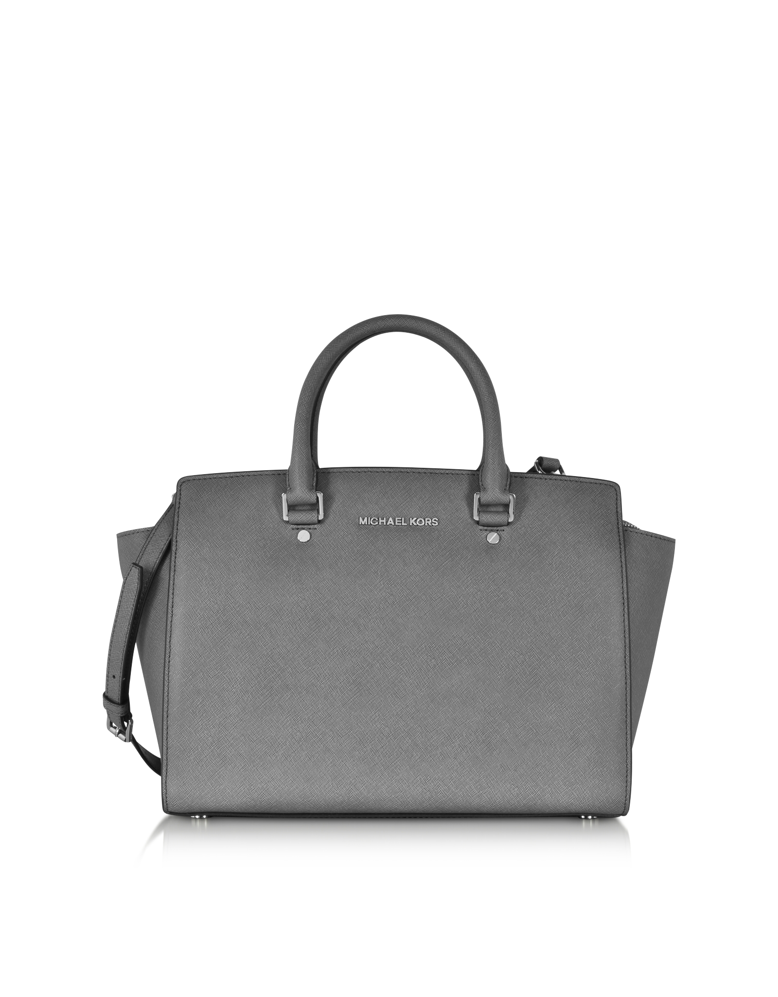 michael kors selma medium saffiano leather satchel in gray lyst. Black Bedroom Furniture Sets. Home Design Ideas