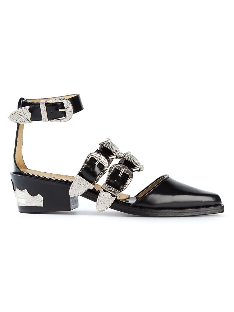 946f5418441 Toga Pulla Buckle Western Sandals in Black - Lyst