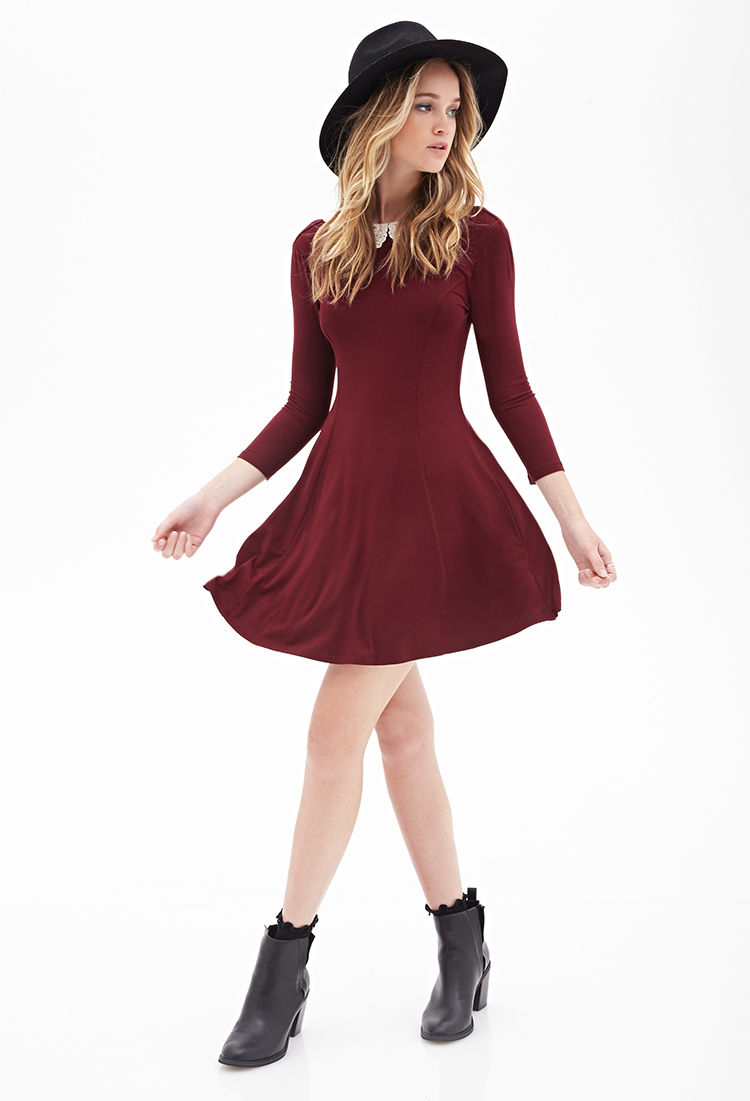 a668b1827f99 Lyst Forever 21 Crochet Collar A Line Dress In Purple. Dresses With Long  Sleeves Forever 21