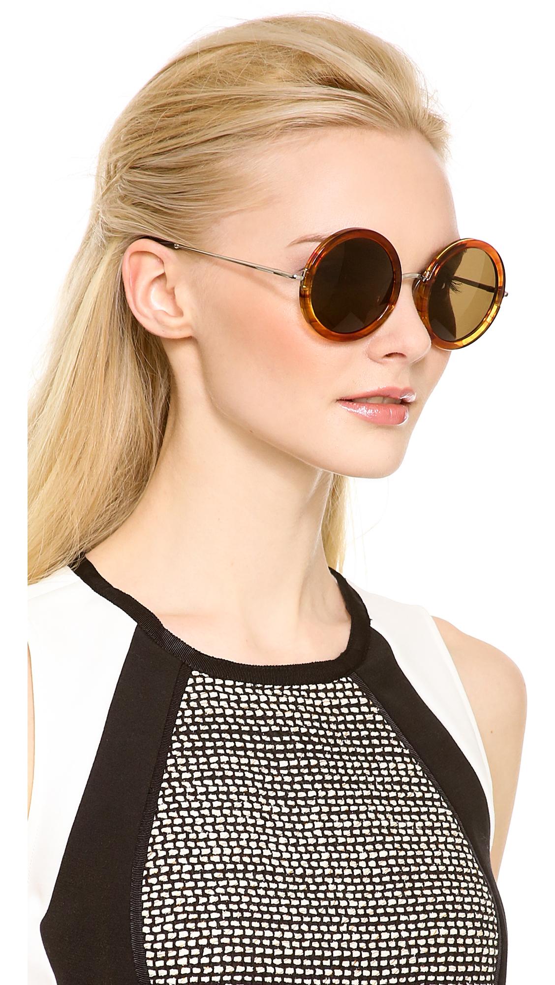 Lyst The Row Round Glam Sunglasses in Metallic