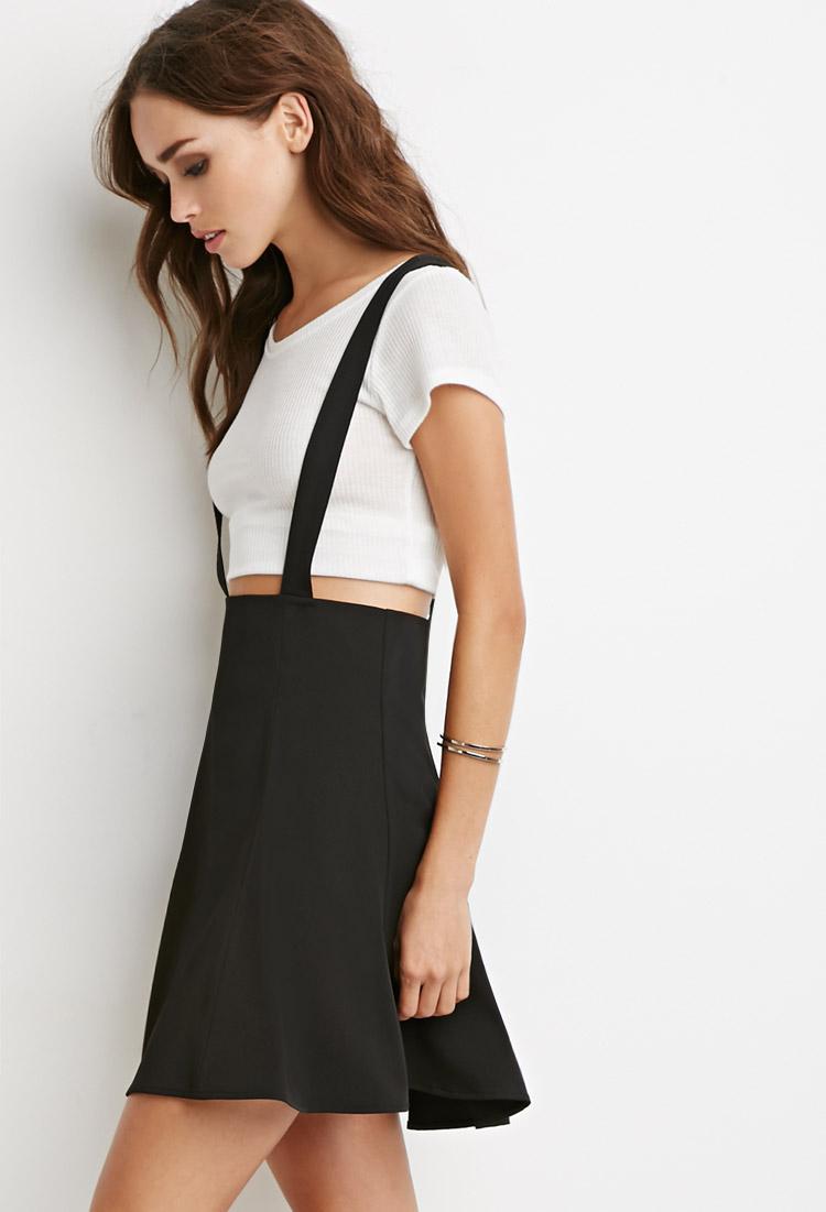 Forever 21 Flared Overall Skirt In Black Lyst