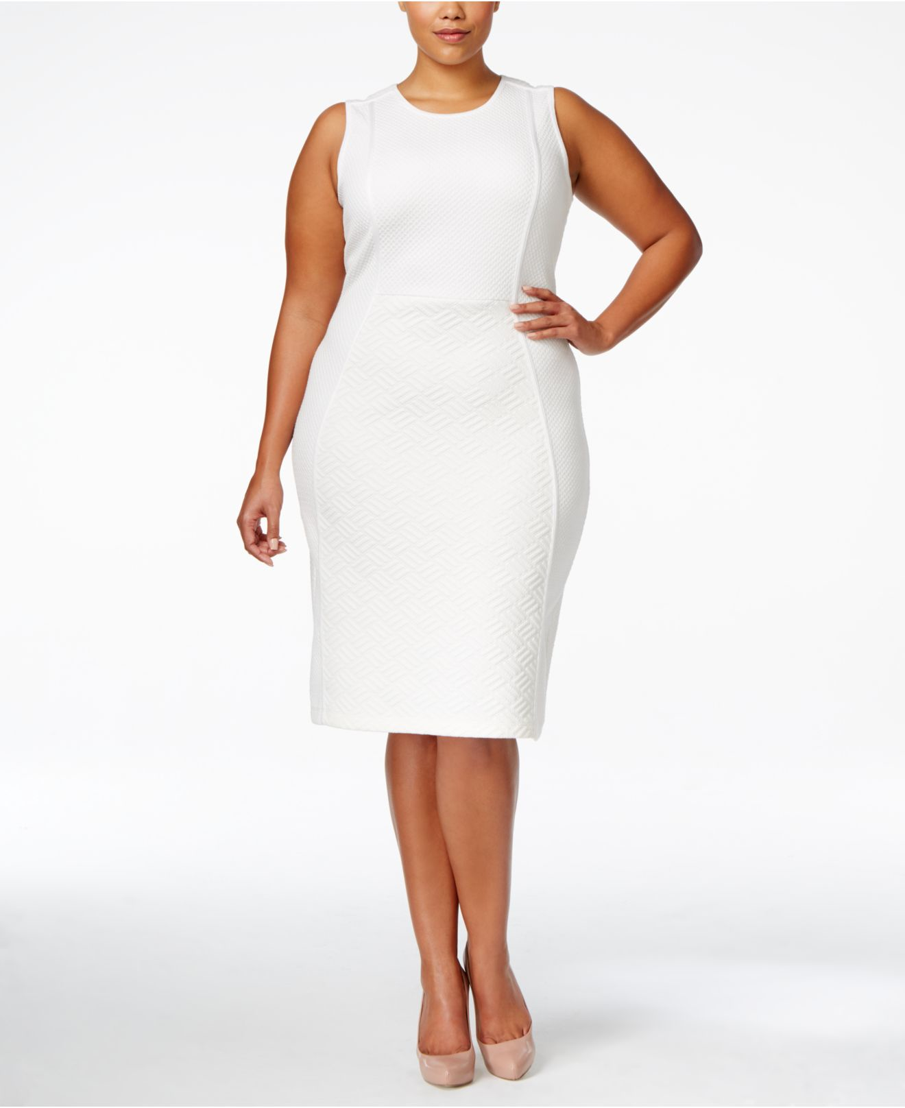 a12880153a2 Lyst Calvin Klein Plus Size Sleeveless Textured Knit Sheath Dress