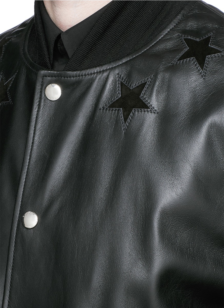 9bd7c9e30 Givenchy Star Appliqué Leather Bomber Jacket in Black for Men - Lyst