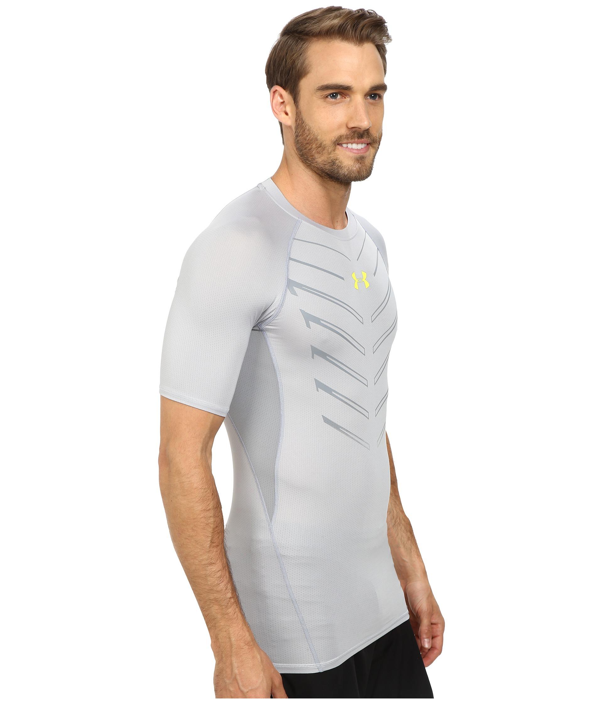 Under armour ua heatgear armour exo s s compression shirt for Gray under armour shirt