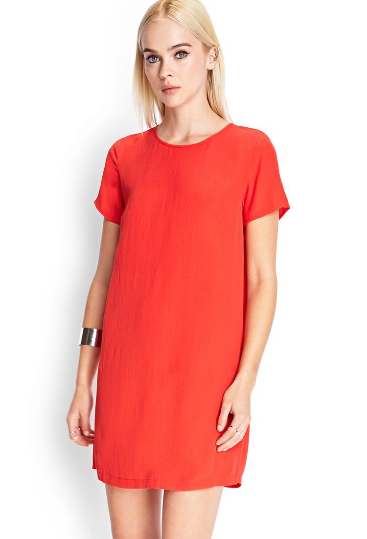 Forever 21 Short Sleeve Shift Dress in Orange | Lyst