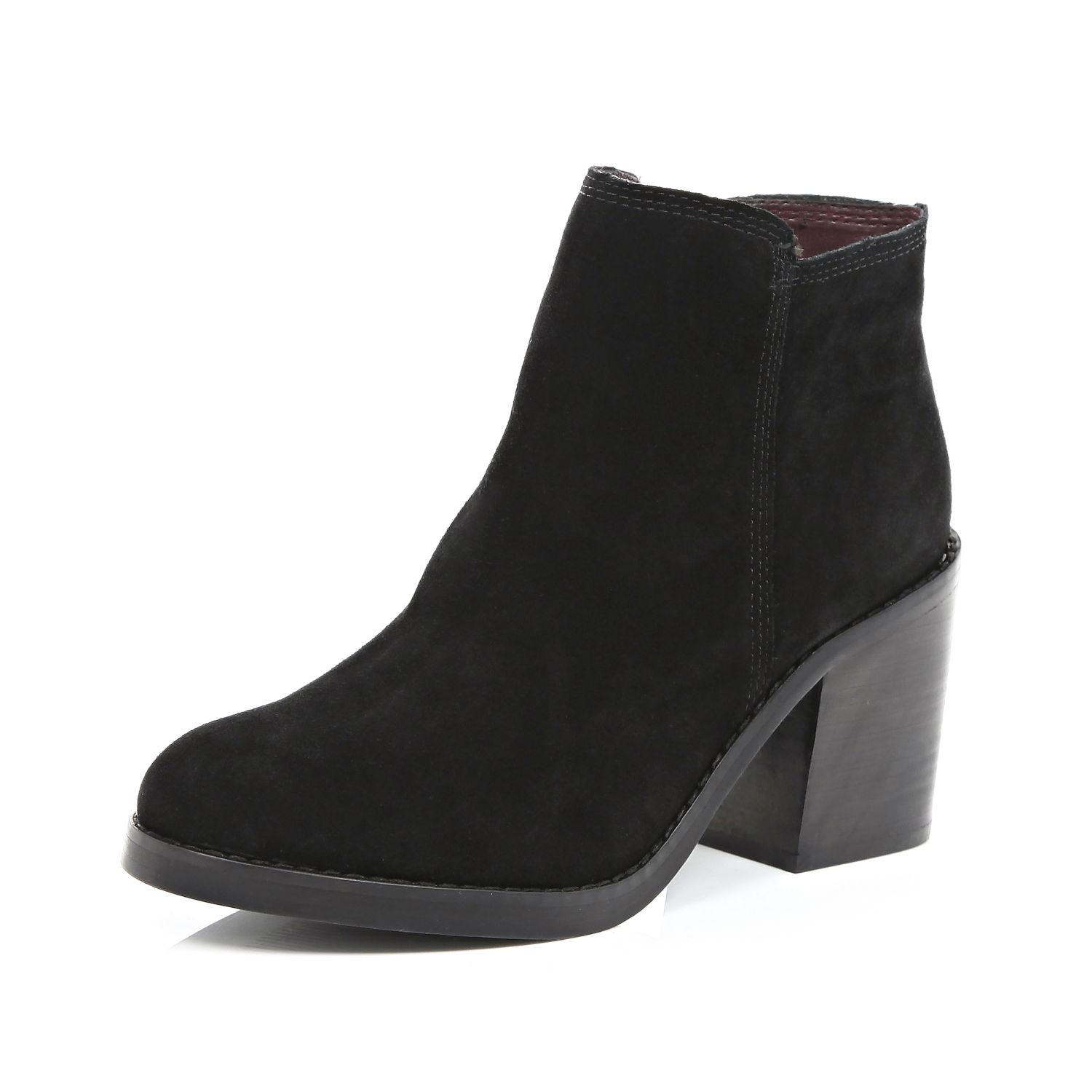 river island black suede block heel ankle boots in black
