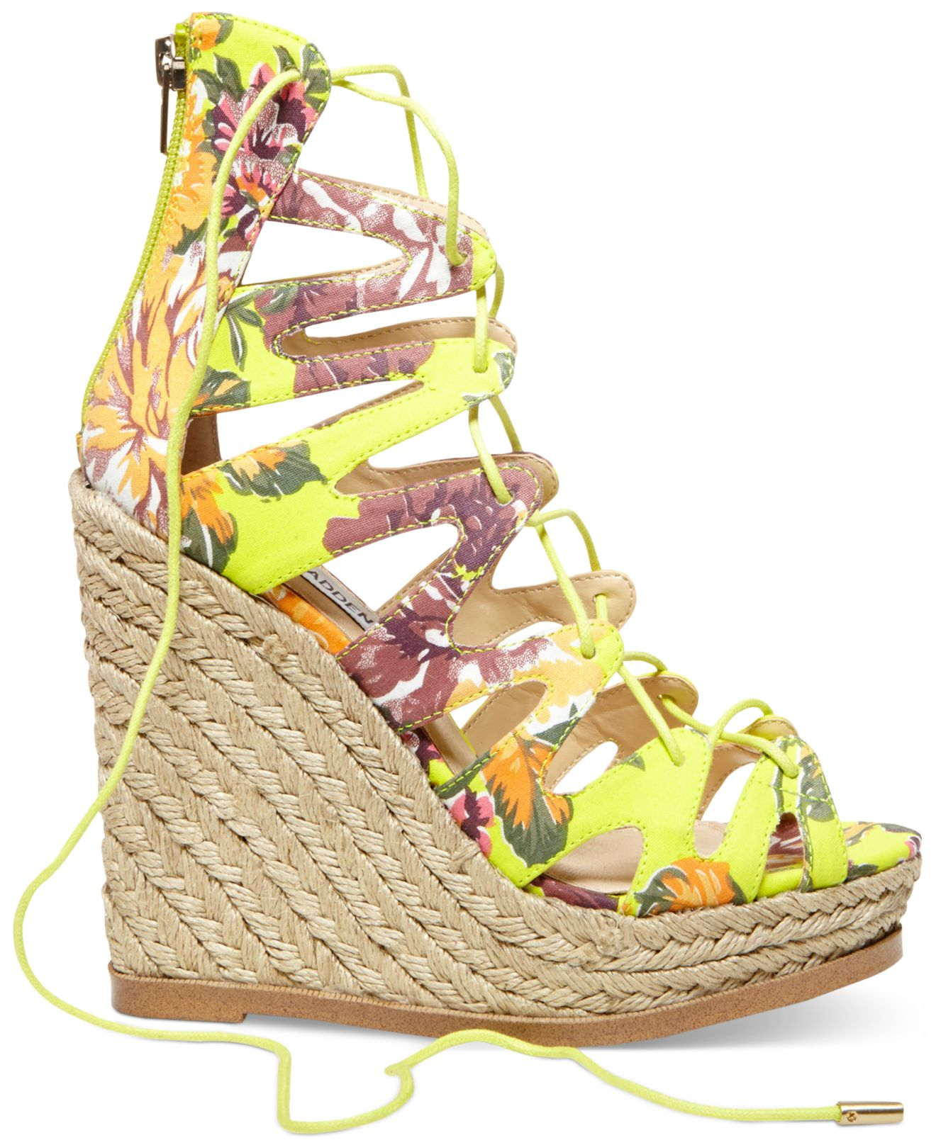 0aac07ee32 Steve Madden Women'S Theea Ghillie Platform Wedge Sandals in Yellow ...