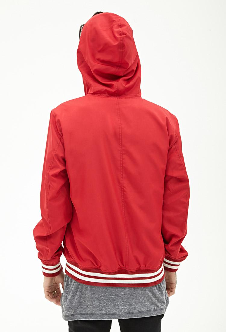 Forever 21 Hooded Varsity Jacket In Red For Men Lyst