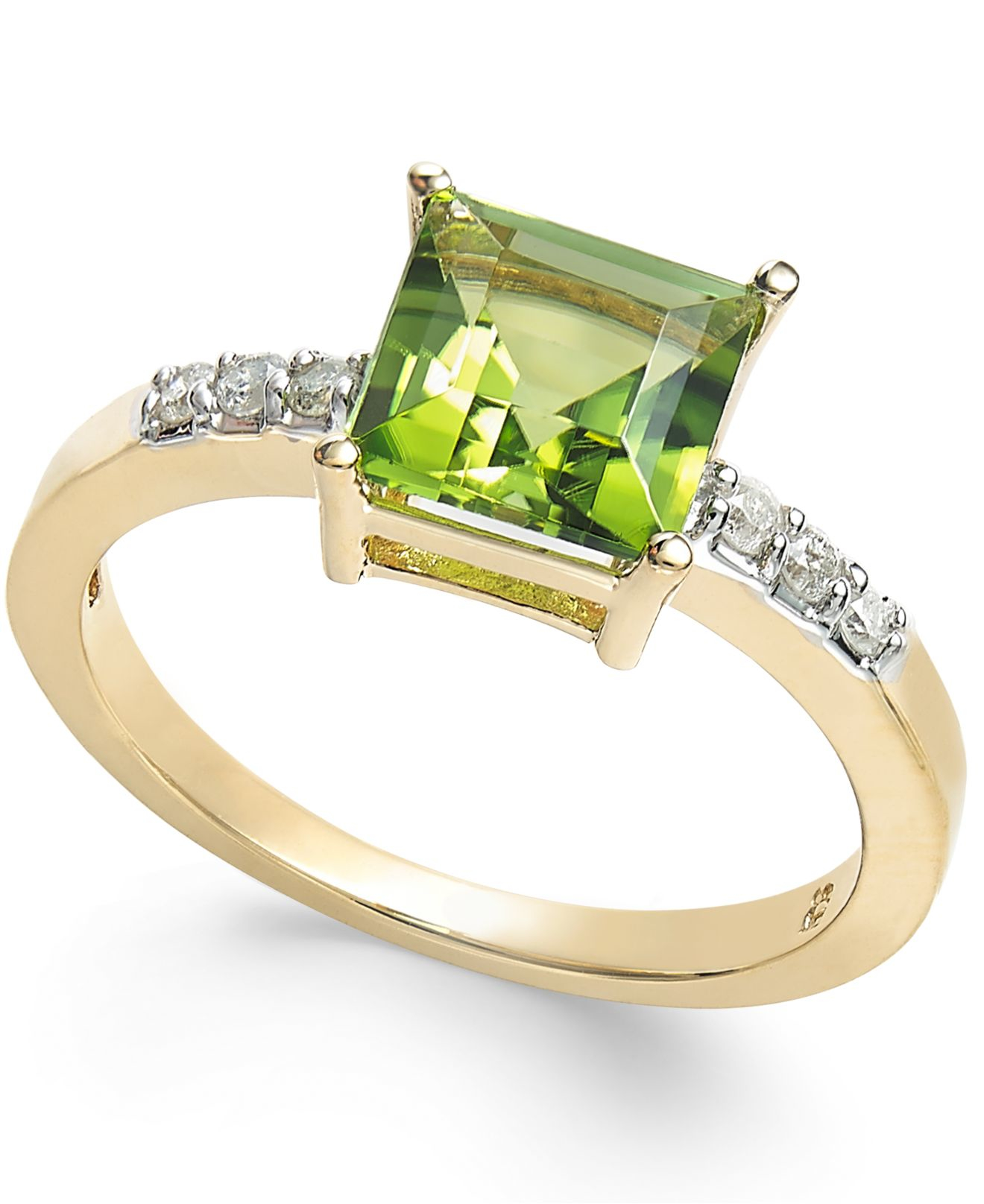 Macy s Peridot 1 3 4 Ct T w And Diamond Accent Ring In 14k Gold in Go