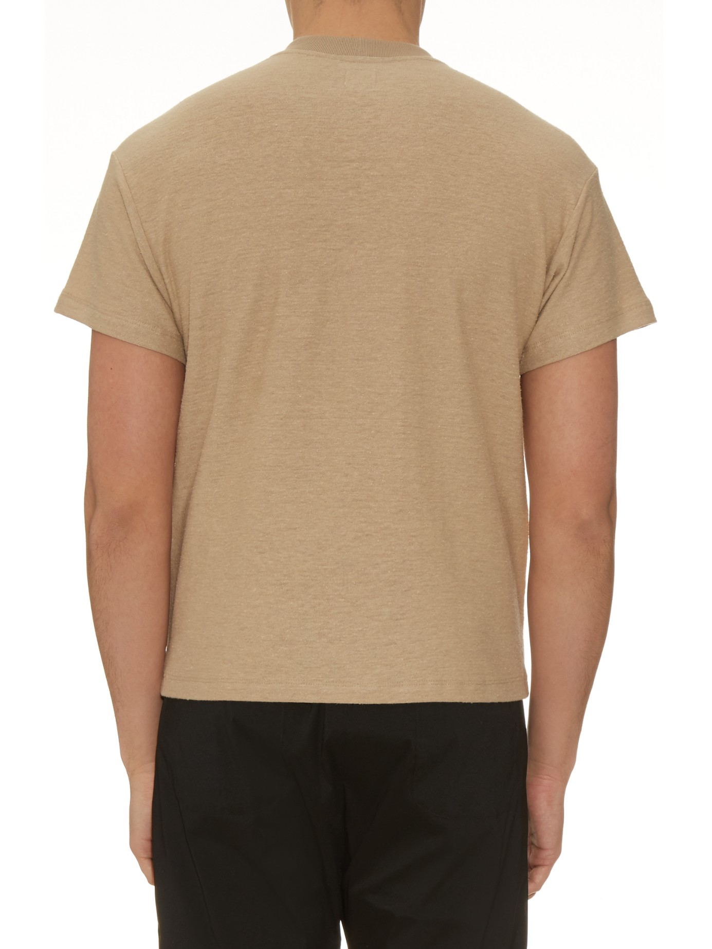 Fanmail boxy cotton and hemp blend t shirt in brown for for Mens hemp t shirts
