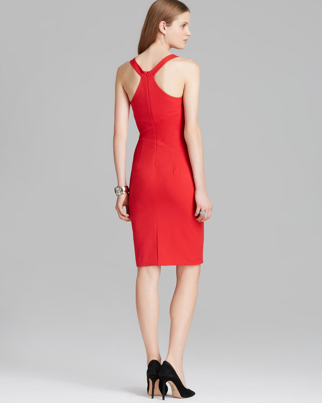 Black halo Sheath Dress Ajai Sleeveless High Square Neck in Red  Lyst