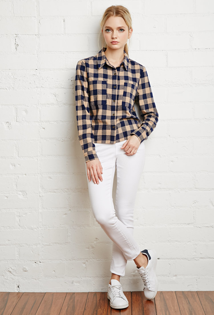 Lyst forever 21 boxy plaid flannel shirt in blue for Flannel shirts for womens forever 21