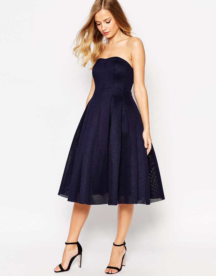 asos super full mesh bandeau midi prom dress in blue lyst. Black Bedroom Furniture Sets. Home Design Ideas