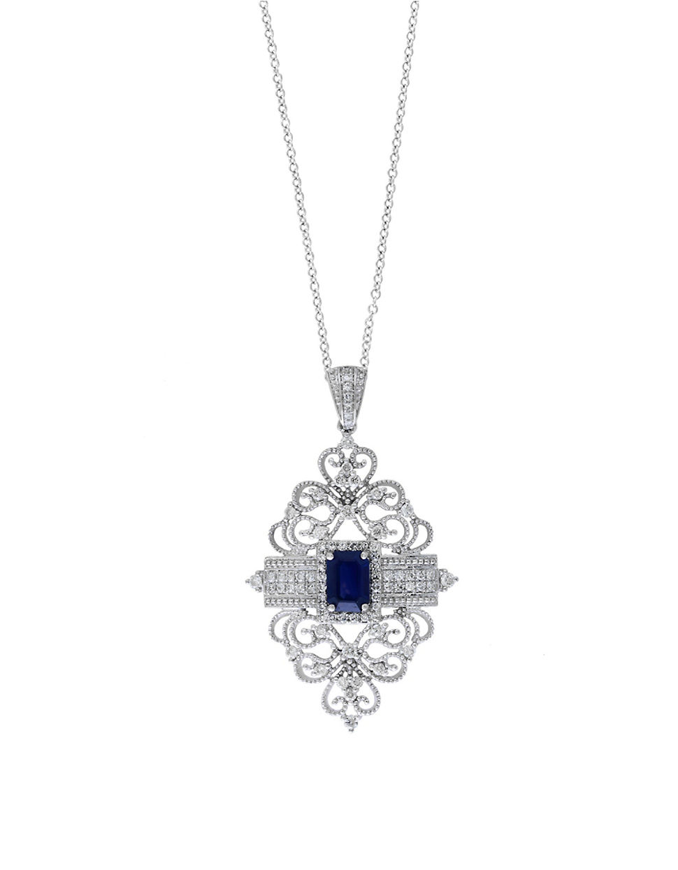Lyst effy royale bleu sapphire diamond and 14k white gold gallery mozeypictures Images