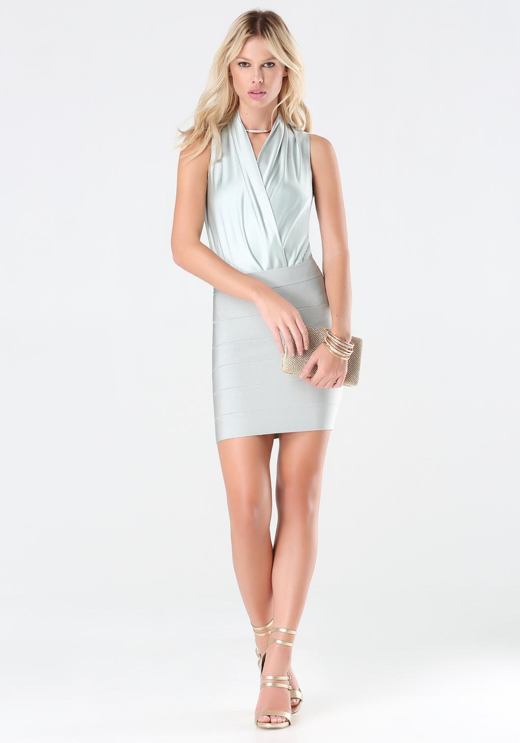 Lyst - Bebe Silk Sleeveless Bodysuit in Blue f91e6d3d1