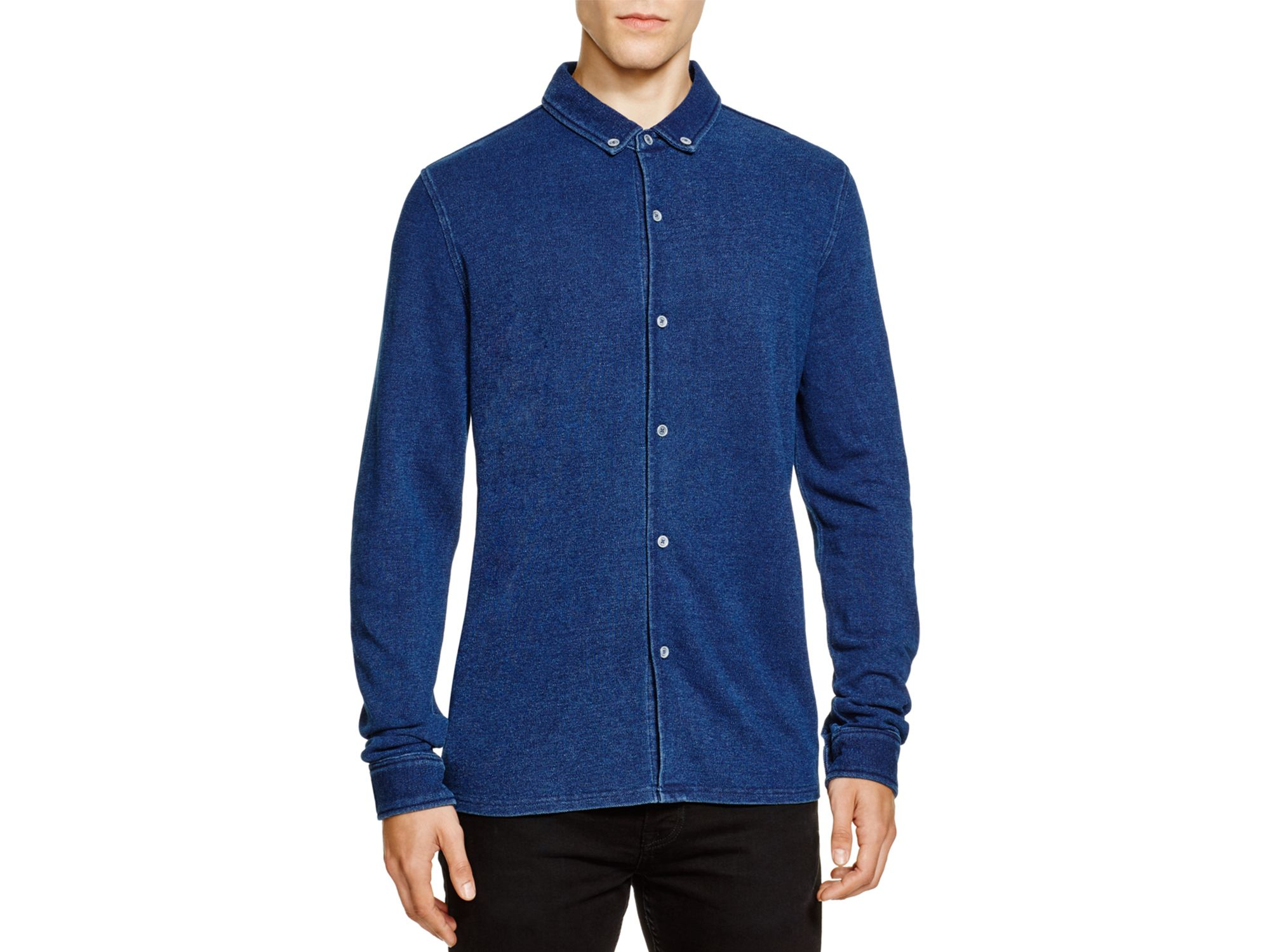 Native youth pique knit slim fit button down shirt in blue for Athletic fit button down shirts