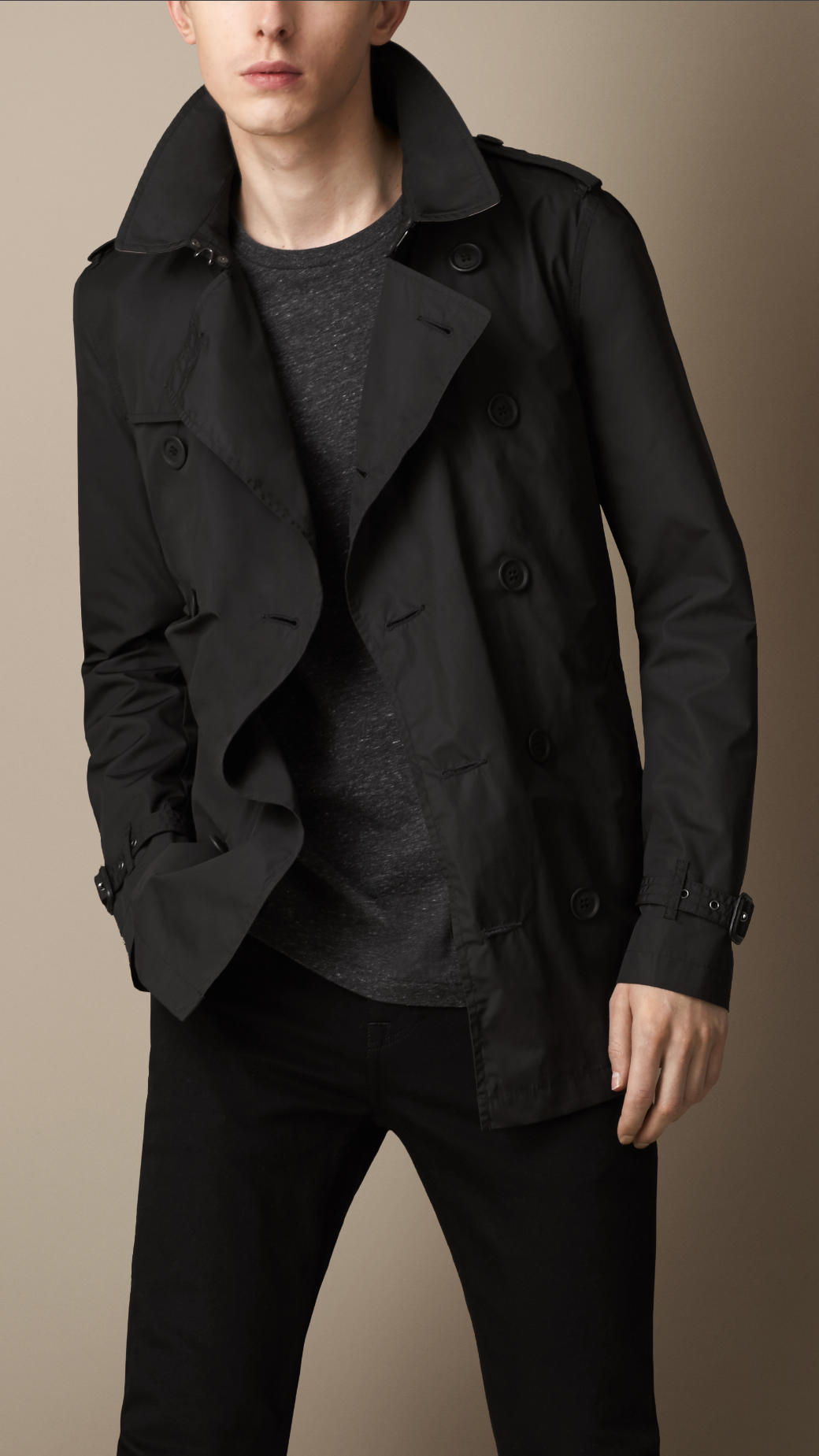 Burberry Short Technical Trench Coat in Black for Men | Lyst