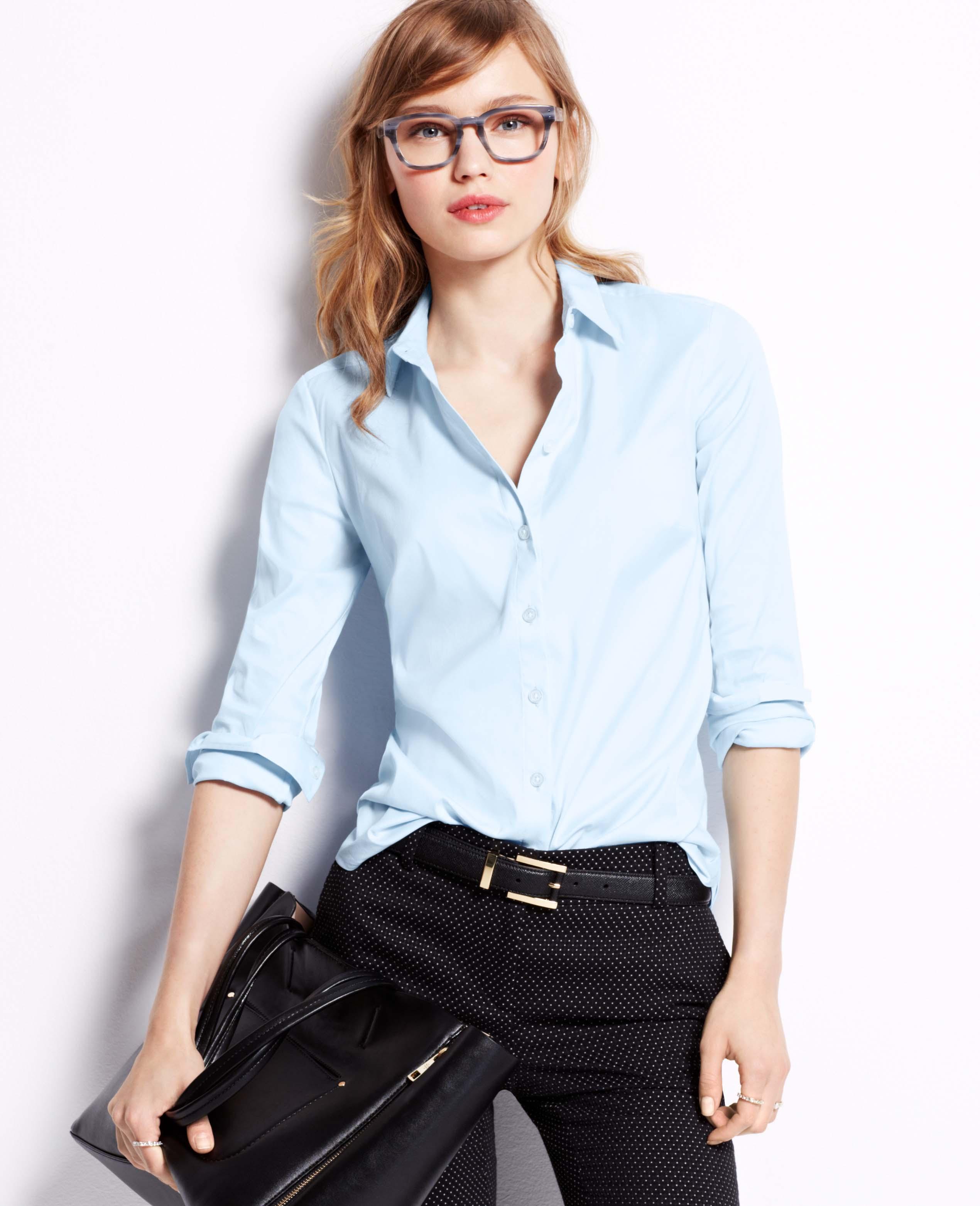 Ann taylor perfect long sleeve button down shirt in blue kite blue