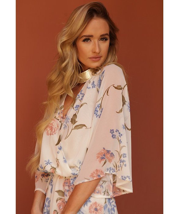 eb0c1d5f732 Olivaceous Floral Romper In Print in White - Lyst