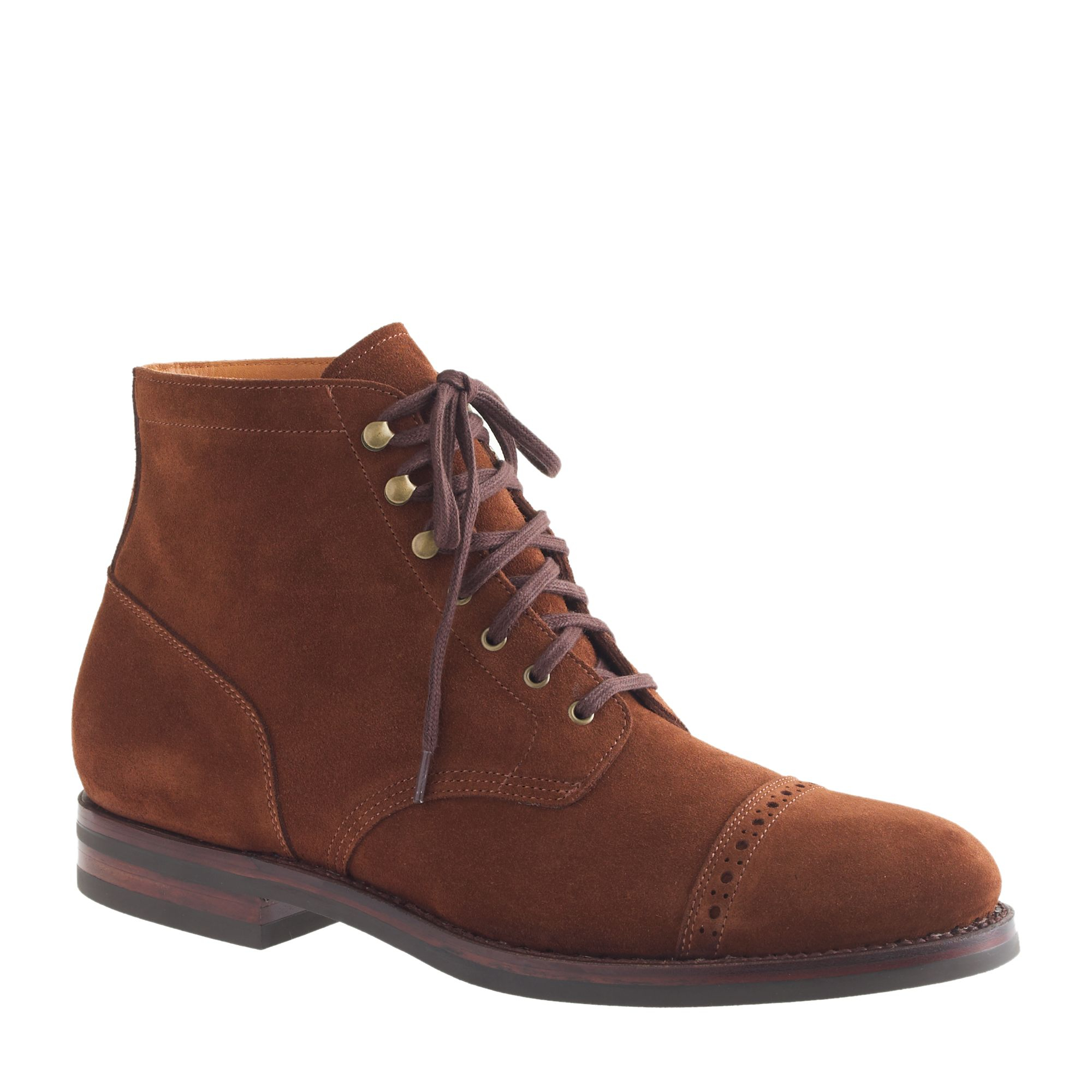 j crew ludlow suede cap toe boots in brown for rich