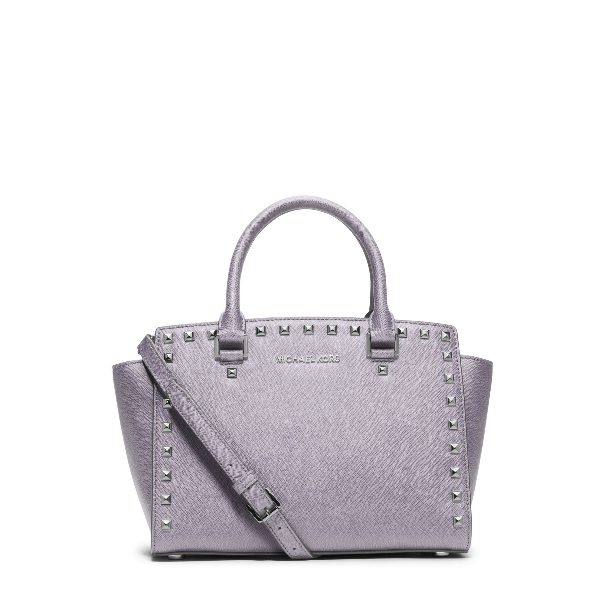 962939b5d8 Lyst - Michael Kors Selma Studded Saffiano Leather Satchel in Gray