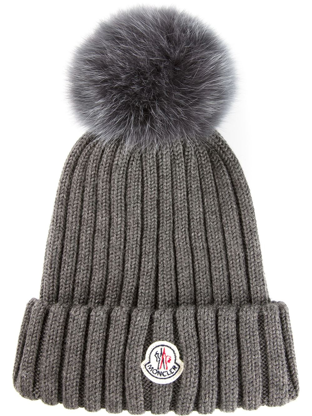 7b67c74d5 Lyst - Moncler Fox Fur Bobble Hat in Gray