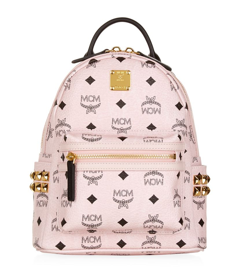 mcm mini stark backpack in pink