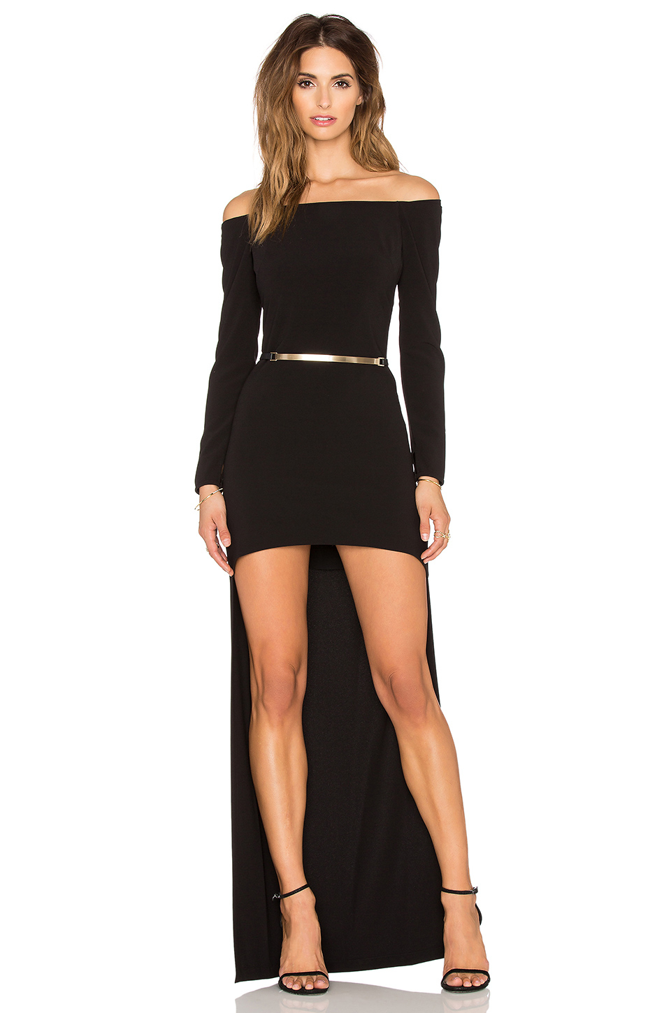 Lyst Halston Long Sleeved High Low Gown In Black