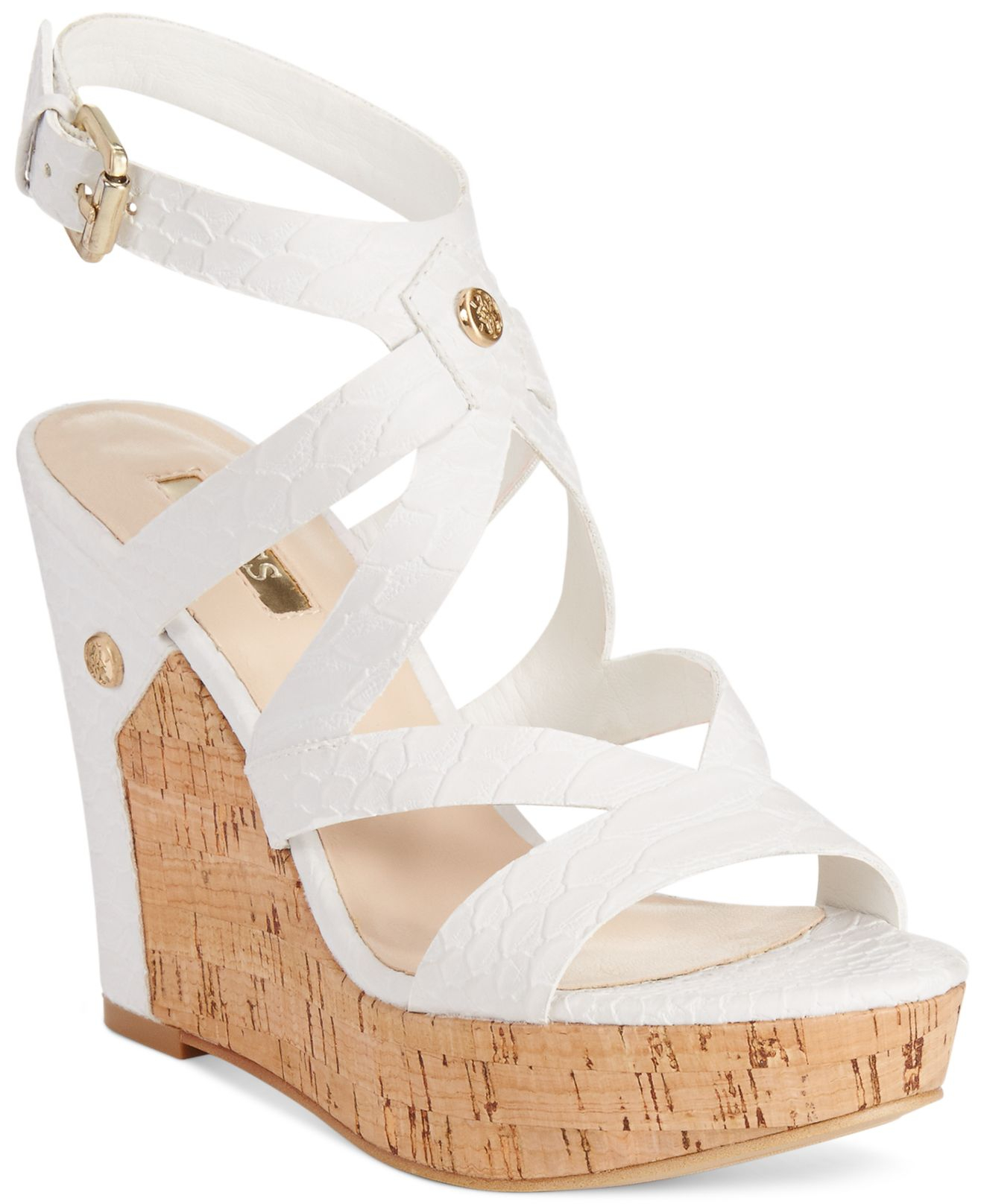d77748a13825 Lyst - Guess Women S Harlee Cork Platform Wedge Sandals in White