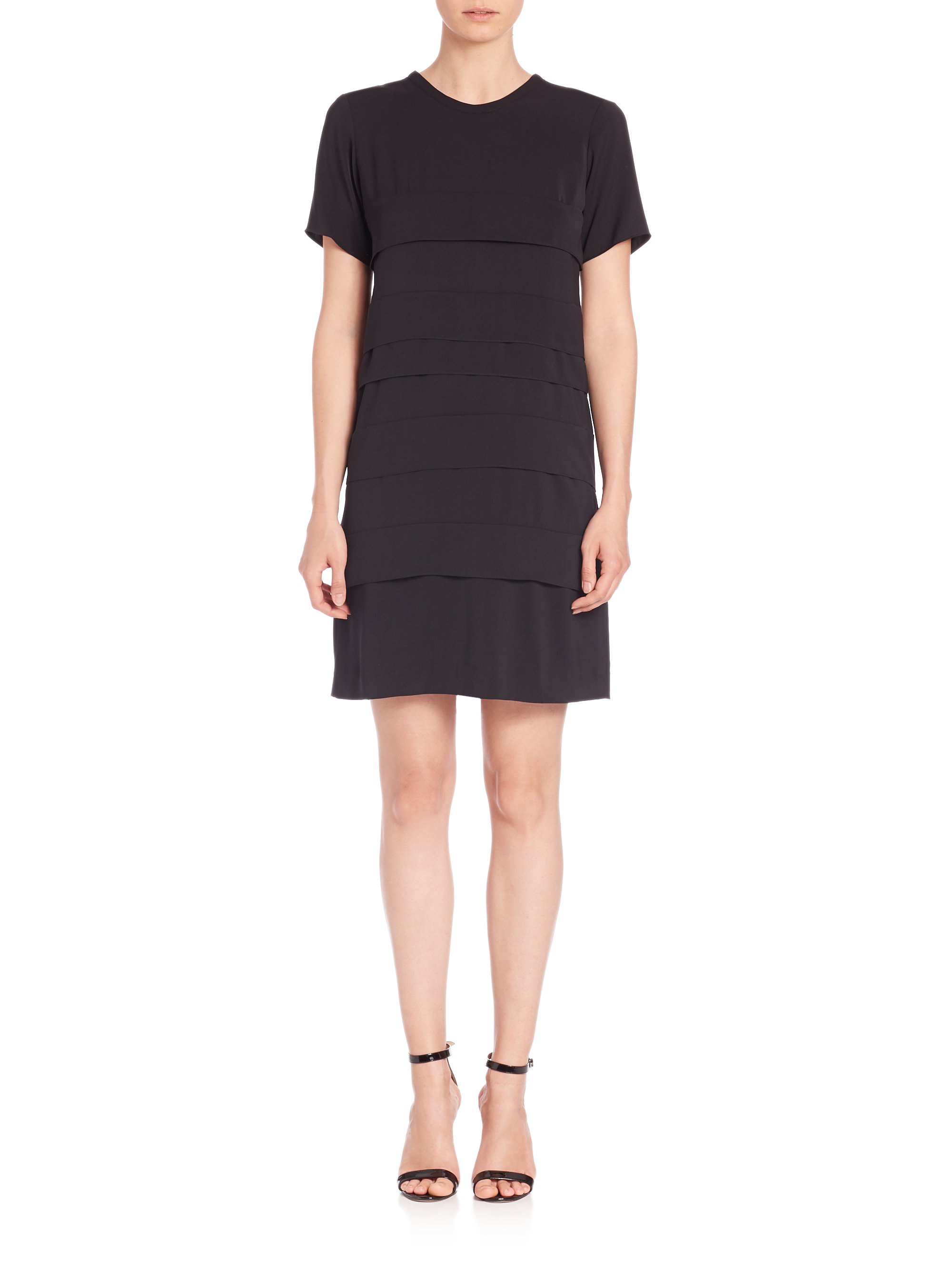 Sonia by sonia rykiel Charmeuse Paneled Dress in Black