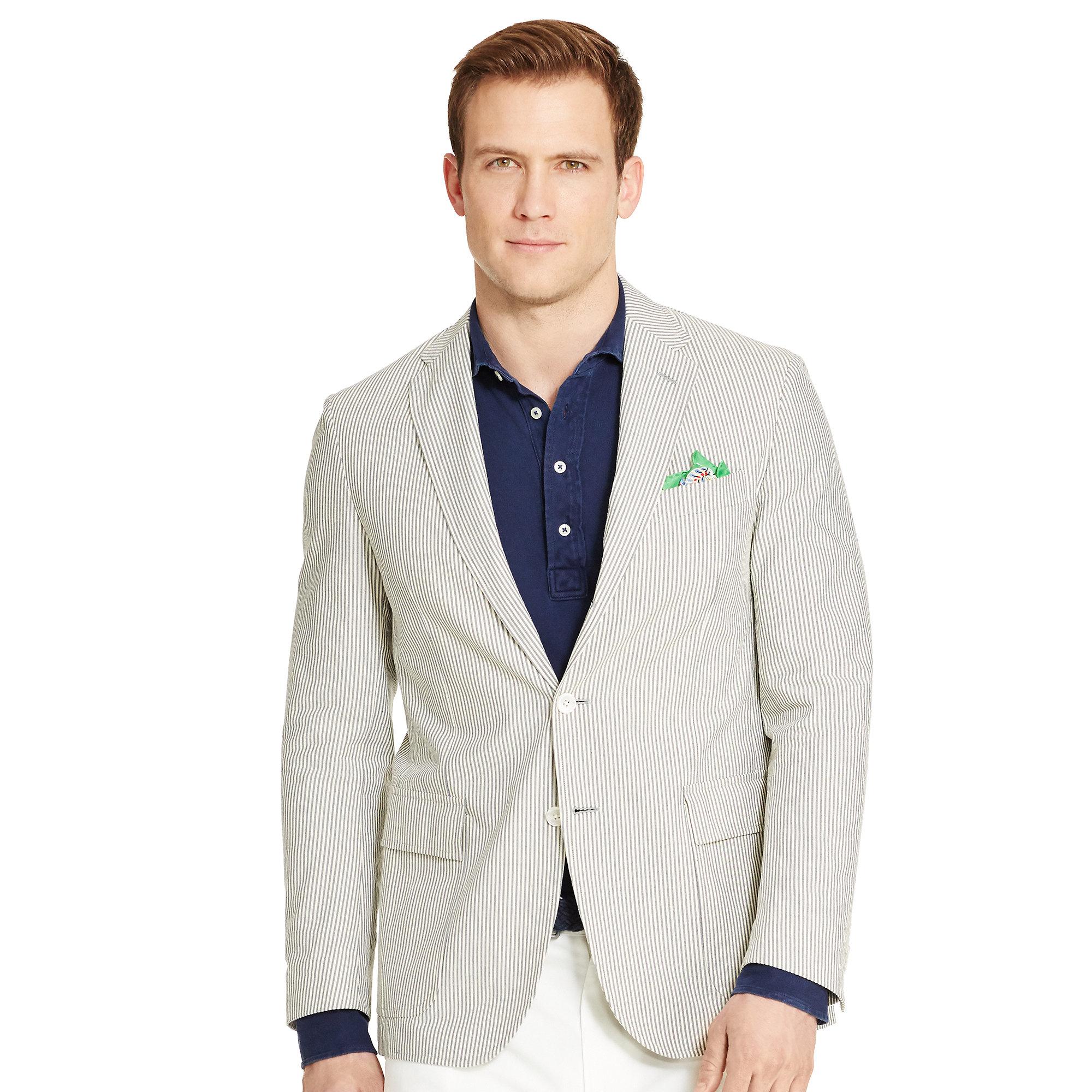 Lyst polo ralph lauren morgan seersucker sport coat in for Polo shirt with sport coat