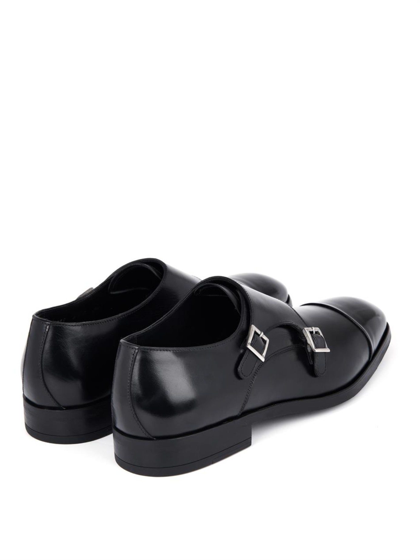 Campanile Leather Monk-Strap Shoes in Black for Men