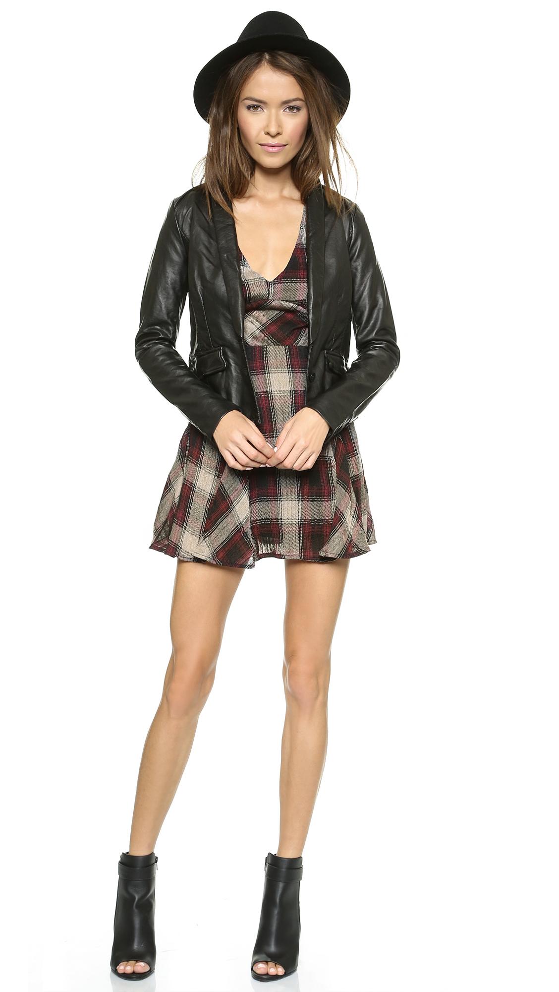 Free People Teen Spirit Mini Dress Washed Black - Lyst-8026