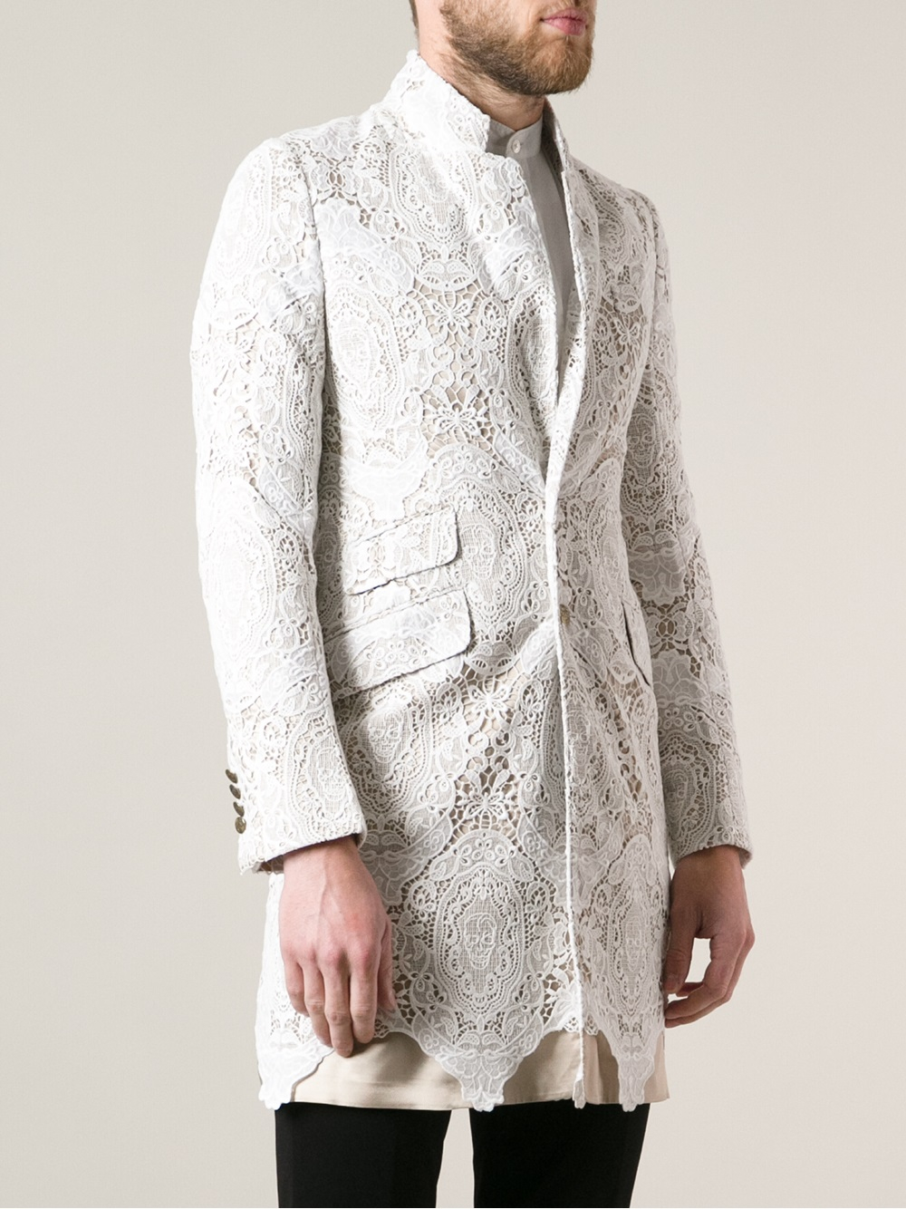 Alexander mcqueen Lace Blazer in White for Men | Lyst