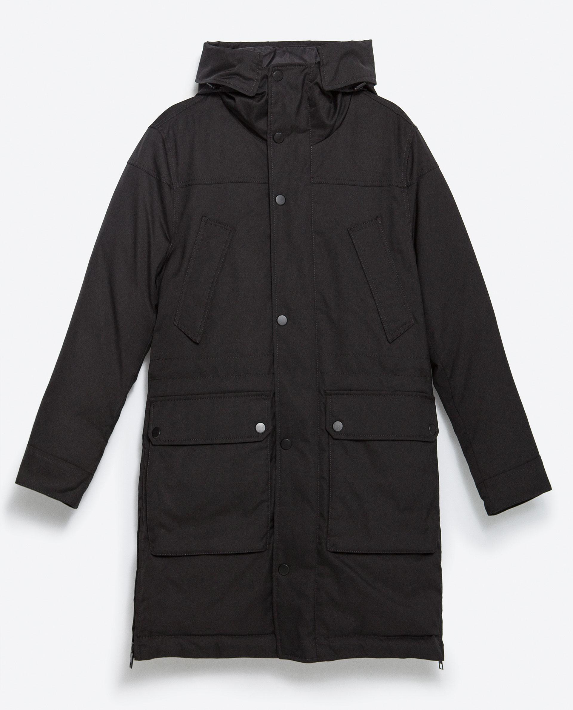 Zara Feather Three Quarter Length Jacket In Black For Men